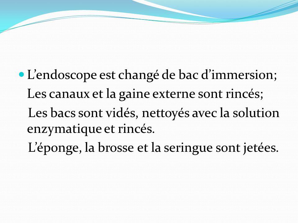 L'endoscope est changé de bac d'immersion; Les canaux et la gaine externe sont rincés; Les bacs sont vidés, nettoyés avec la solution enzymatique et r