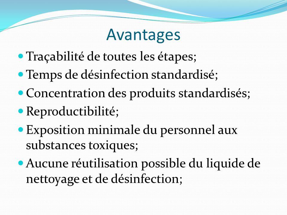 Avantages Traçabilité de toutes les étapes; Temps de désinfection standardisé; Concentration des produits standardisés; Reproductibilité; Exposition m
