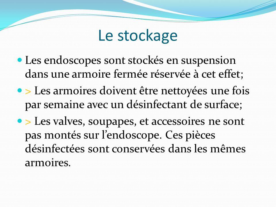 Le stockage Les endoscopes sont stockés en suspension dans une armoire fermée réservée à cet effet; > Les armoires doivent être nettoyées une fois par