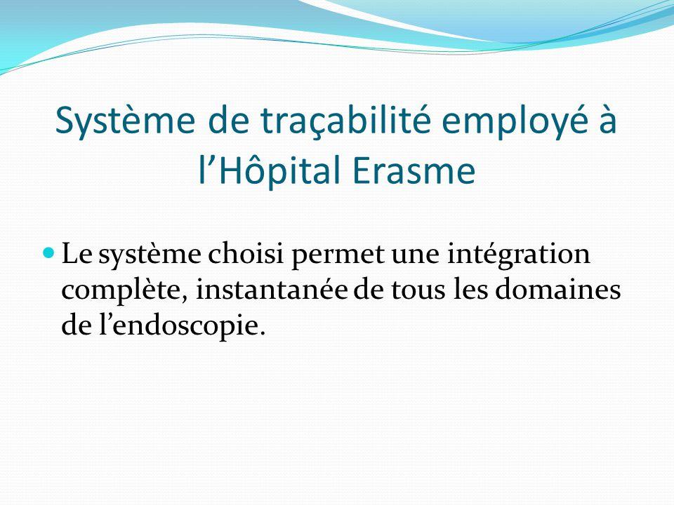 Système de traçabilité employé à l'Hôpital Erasme Le système choisi permet une intégration complète, instantanée de tous les domaines de l'endoscopie.