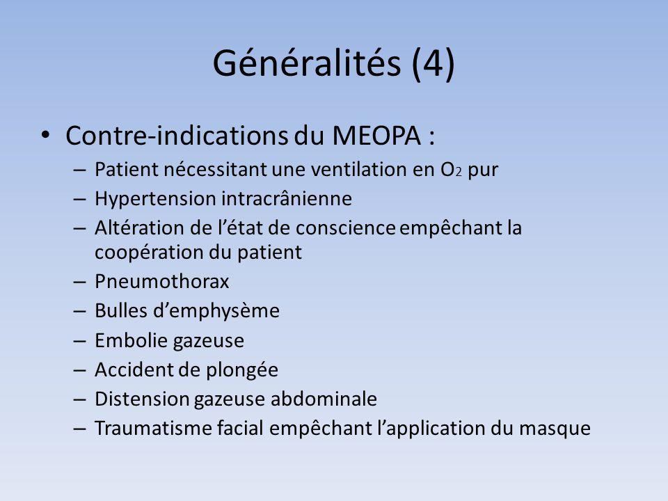 Généralités (4) Contre-indications du MEOPA : – Patient nécessitant une ventilation en O 2 pur – Hypertension intracrânienne – Altération de l'état de