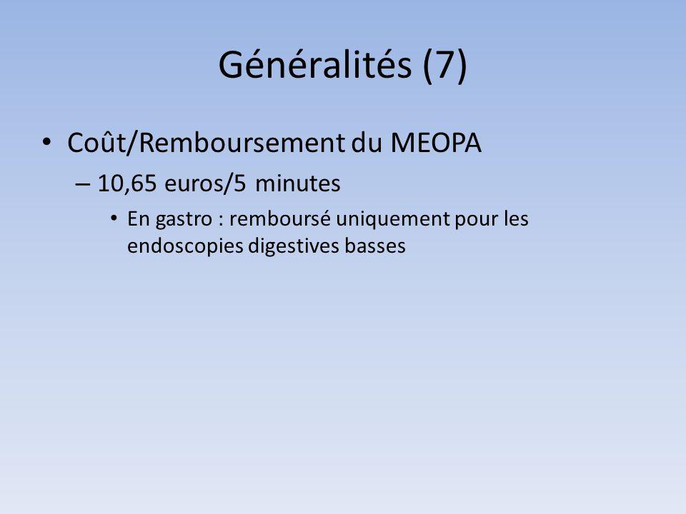 Généralités (7) Coût/Remboursement du MEOPA – 10,65 euros/5 minutes En gastro : remboursé uniquement pour les endoscopies digestives basses