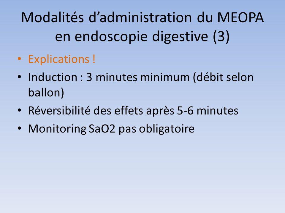 Modalités d'administration du MEOPA en endoscopie digestive (3) Explications ! Induction : 3 minutes minimum (débit selon ballon) Réversibilité des ef