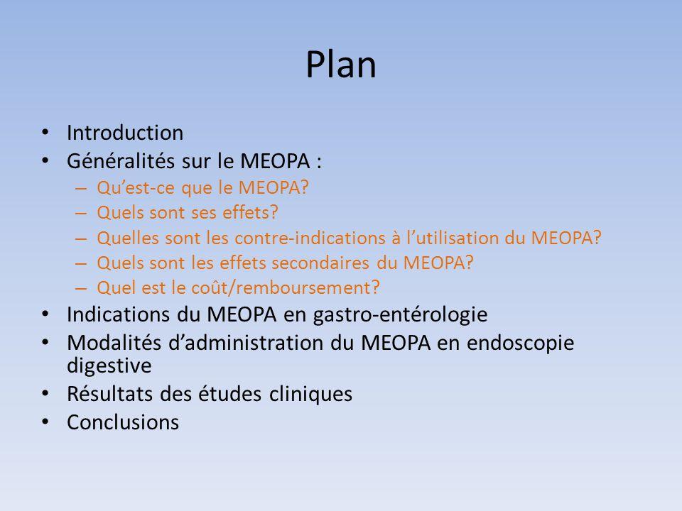 Plan Introduction Généralités sur le MEOPA : – Qu'est-ce que le MEOPA? – Quels sont ses effets? – Quelles sont les contre-indications à l'utilisation