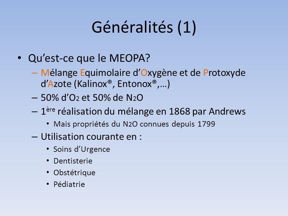 Généralités (1) Qu'est-ce que le MEOPA? – Mélange Equimolaire d'Oxygène et de Protoxyde d'Azote (Kalinox®, Entonox®,…) – 50% d'O 2 et 50% de N 2 O – 1