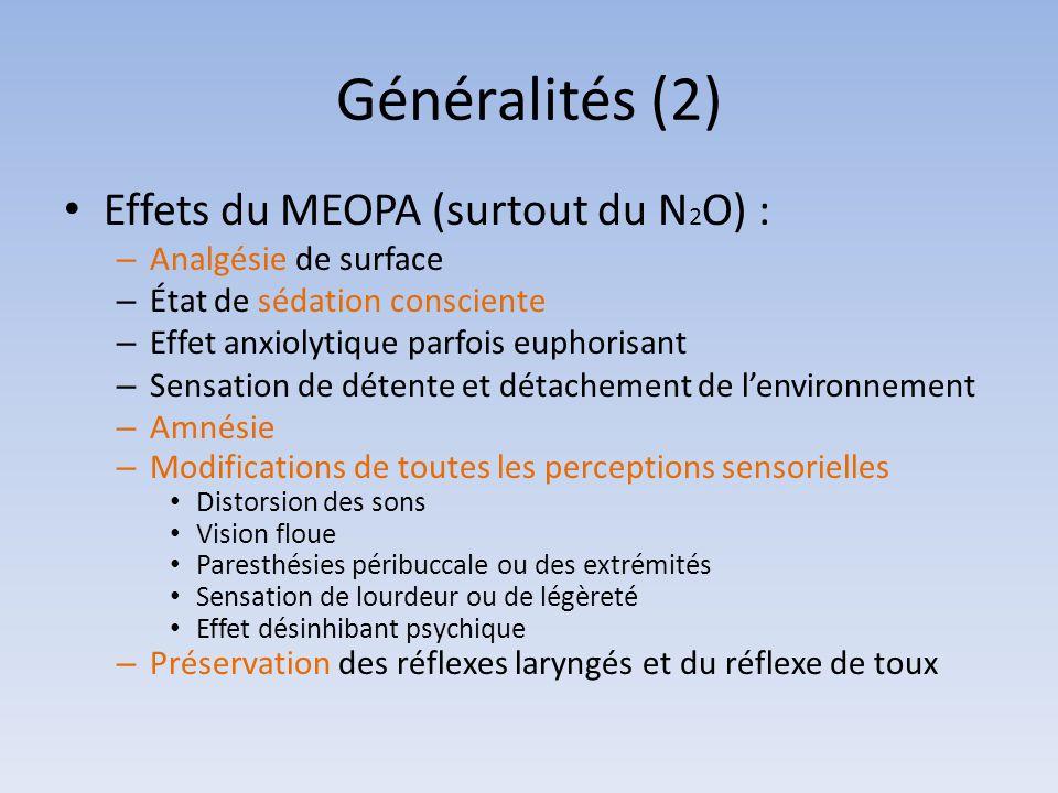 Généralités (2) Effets du MEOPA (surtout du N 2 O) : – Analgésie de surface – État de sédation consciente – Effet anxiolytique parfois euphorisant – S