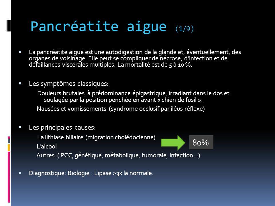 Pancréatite aigue (1/9)  La pancréatite aiguë est une autodigestion de la glande et, éventuellement, des organes de voisinage. Elle peut se complique