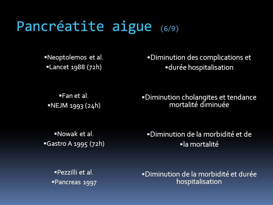 Pancréatite aigue (6/9)  Neoptolemos et al.  Lancet 1988 (72h)  Fan et al.  NEJM 1993 (24h)  Nowak et al.  Gastro A 1995 (72h)  Pezzilli et al.