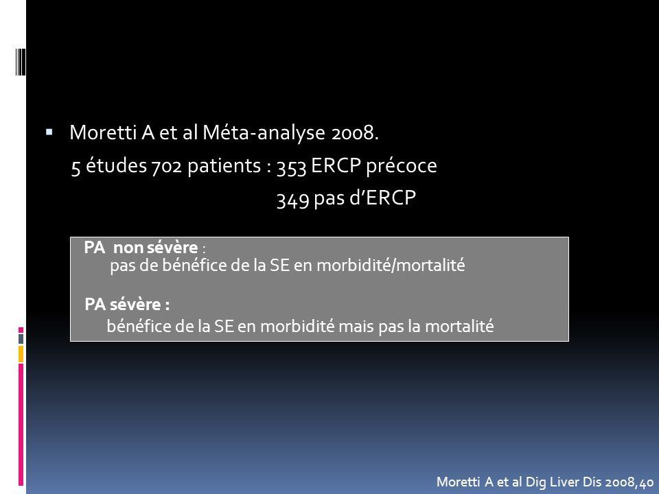  Moretti A et al Méta-analyse 2008. 5 études 702 patients : 353 ERCP précoce 349 pas d'ERCP PA non sévère : pas de bénéfice de la SE en morbidité/mor
