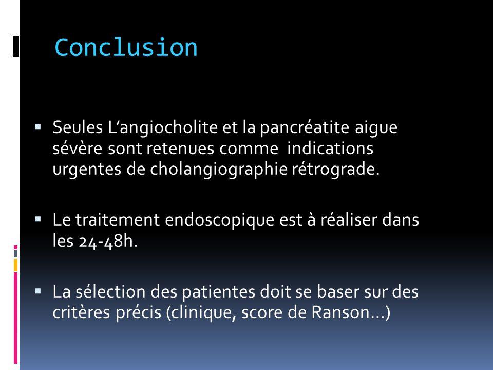 Conclusion  Seules L'angiocholite et la pancréatite aigue sévère sont retenues comme indications urgentes de cholangiographie rétrograde.  Le traite