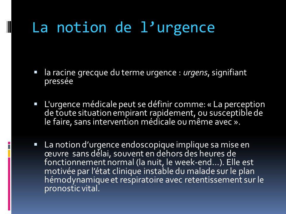 La notion de l'urgence  la racine grecque du terme urgence : urgens, signifiant pressée  L'urgence médicale peut se définir comme: « La perception d