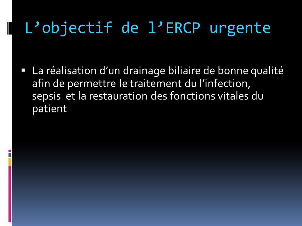 L'objectif de l'ERCP urgente L'objectif de l'ERCP urgente  La réalisation d'un drainage biliaire de bonne qualité afin de permettre le traitement du