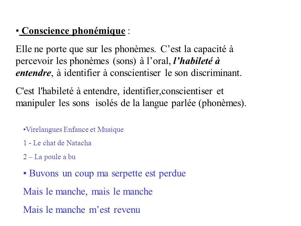 Conscience phonémique : Elle ne porte que sur les phonèmes. C'est la capacité à percevoir les phonèmes (sons) à l'oral, l'habileté à entendre, à ident