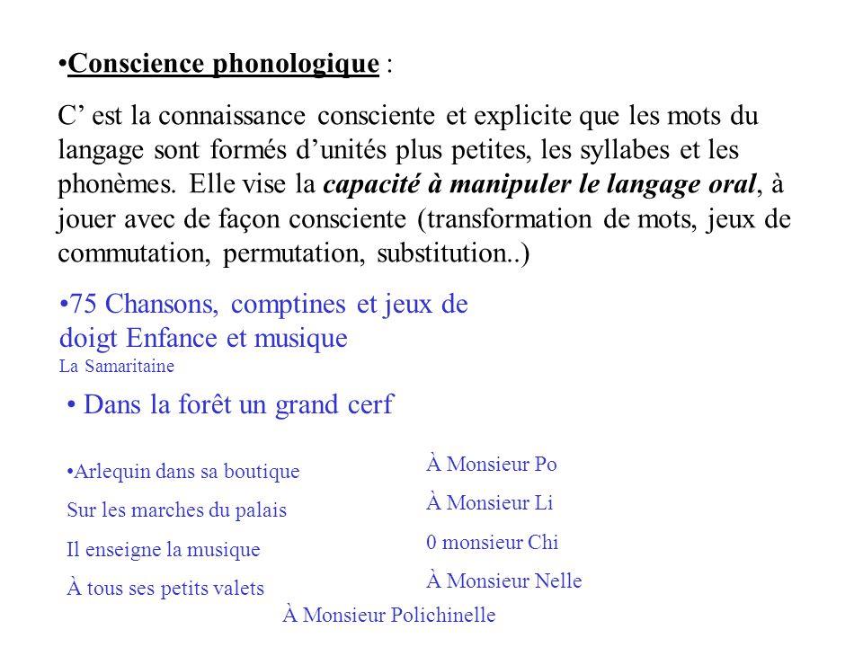 Conscience phonologique : C' est la connaissance consciente et explicite que les mots du langage sont formés d'unités plus petites, les syllabes et le