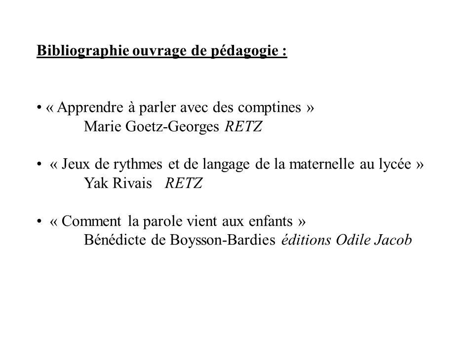 Bibliographie ouvrage de pédagogie : « Apprendre à parler avec des comptines » Marie Goetz-Georges RETZ « Jeux de rythmes et de langage de la maternel