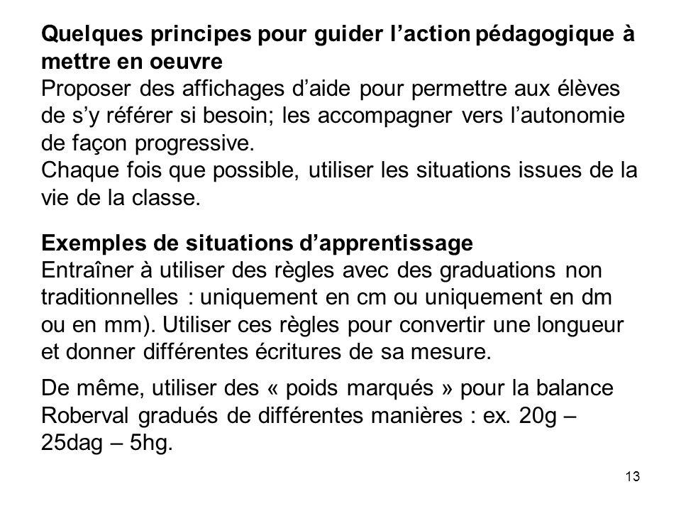 13 Quelques principes pour guider l'action pédagogique à mettre en oeuvre Proposer des affichages d'aide pour permettre aux élèves de s'y référer si b
