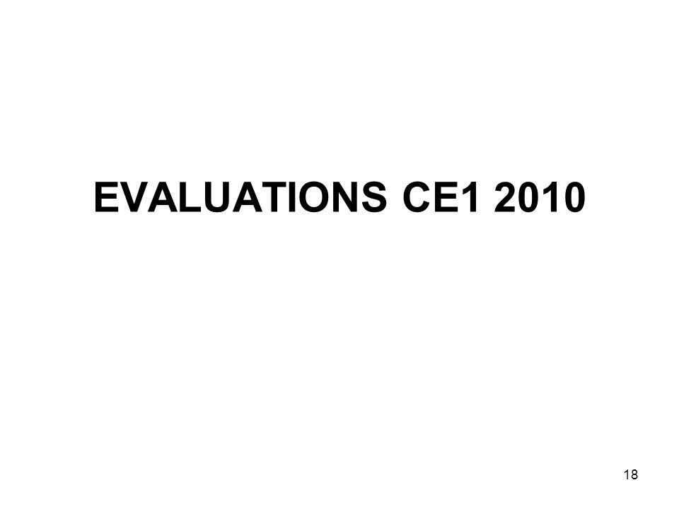 18 EVALUATIONS CE1 2010