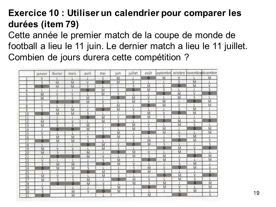 19 Exercice 10 : Utiliser un calendrier pour comparer les durées (item 79) Cette année le premier match de la coupe de monde de football a lieu le 11