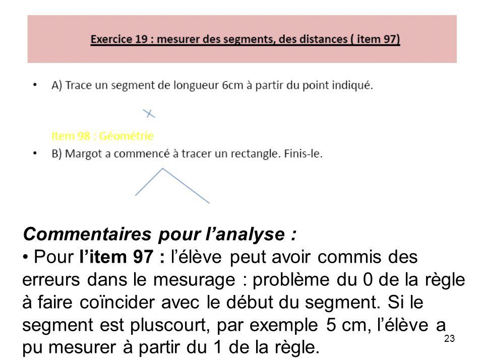23 Commentaires pour l'analyse : Pour l'item 97 : l'élève peut avoir commis des erreurs dans le mesurage : problème du 0 de la règle à faire coïncider