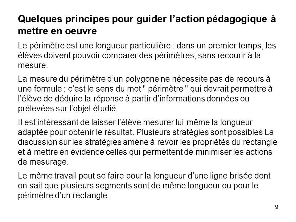 9 Quelques principes pour guider l'action pédagogique à mettre en oeuvre Le périmètre est une longueur particulière : dans un premier temps, les élève
