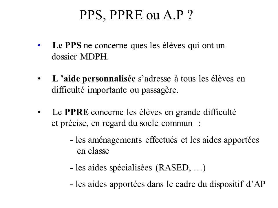 PPS, PPRE ou A.P ? Le PPS ne concerne ques les élèves qui ont un dossier MDPH. L 'aide personnalisée s'adresse à tous les élèves en difficulté importa