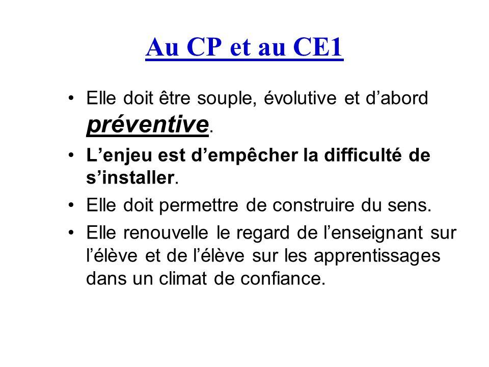 Au CP et au CE1 Elle doit être souple, évolutive et d'abord préventive. L'enjeu est d'empêcher la difficulté de s'installer. Elle doit permettre de co