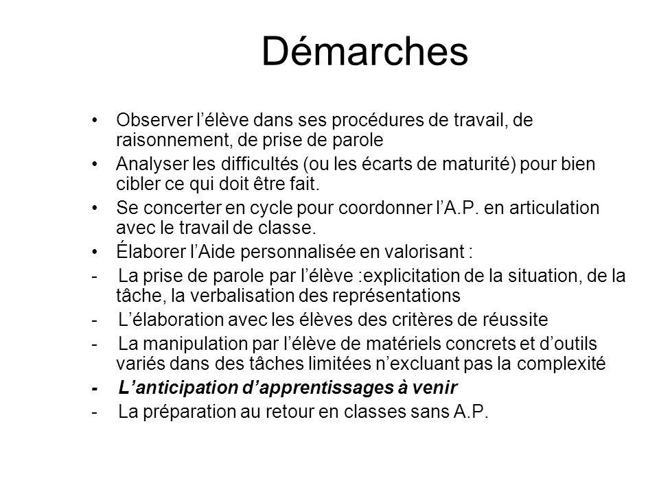 Démarches Observer l'élève dans ses procédures de travail, de raisonnement, de prise de parole Analyser les difficultés (ou les écarts de maturité) po