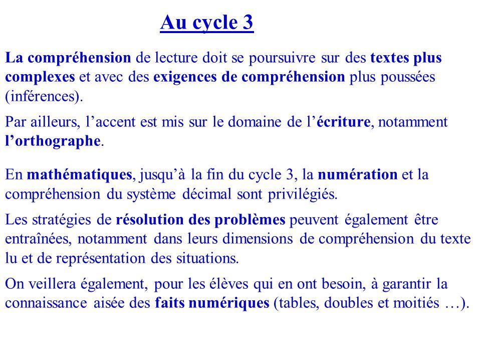 Au cycle 3 La compréhension de lecture doit se poursuivre sur des textes plus complexes et avec des exigences de compréhension plus poussées (inférenc