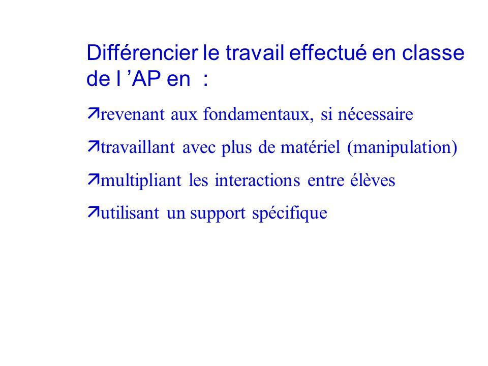 Différencier le travail effectué en classe de l 'AP en : ä revenant aux fondamentaux, si nécessaire ä travaillant avec plus de matériel (manipulation)