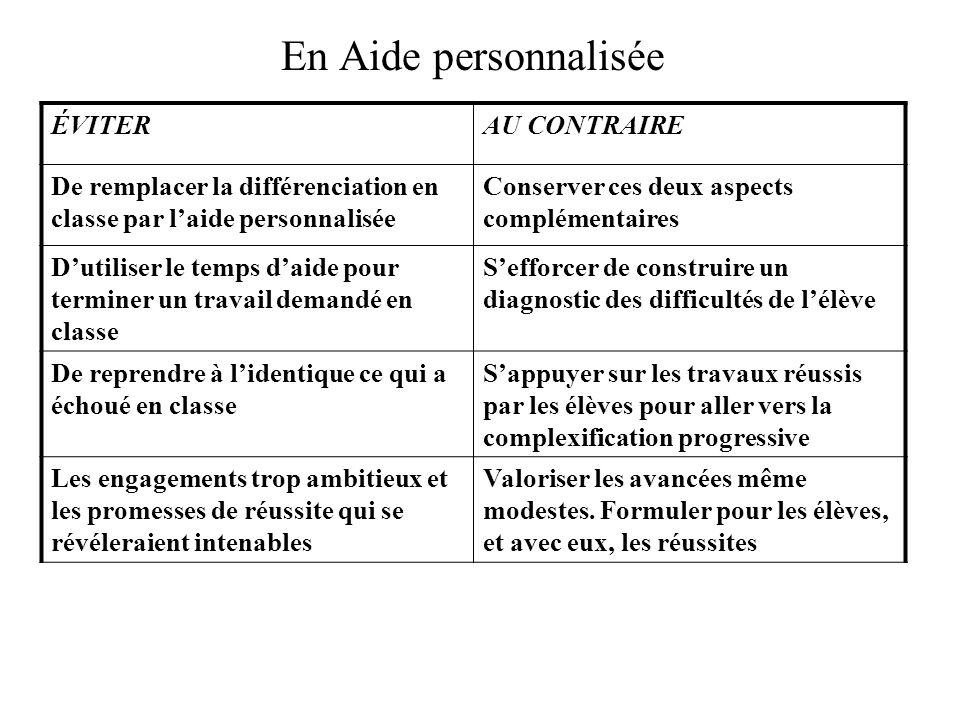 En Aide personnalisée ÉVITERAU CONTRAIRE De remplacer la différenciation en classe par l'aide personnalisée Conserver ces deux aspects complémentaires