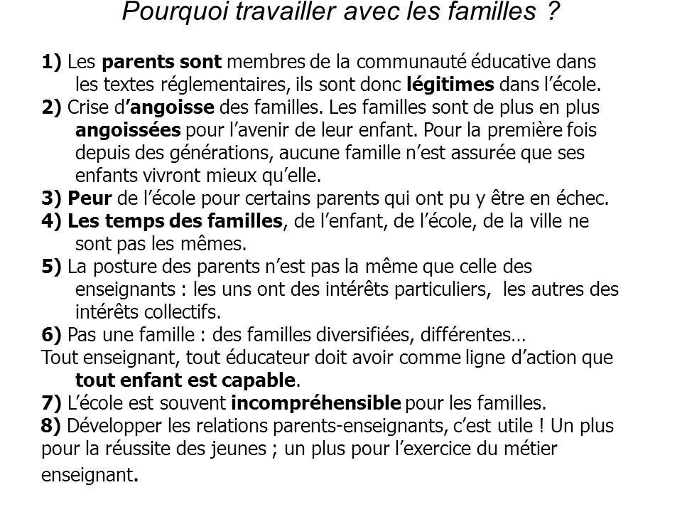 Pourquoi travailler avec les familles ? 1) Les parents sont membres de la communauté éducative dans les textes réglementaires, ils sont donc légitimes