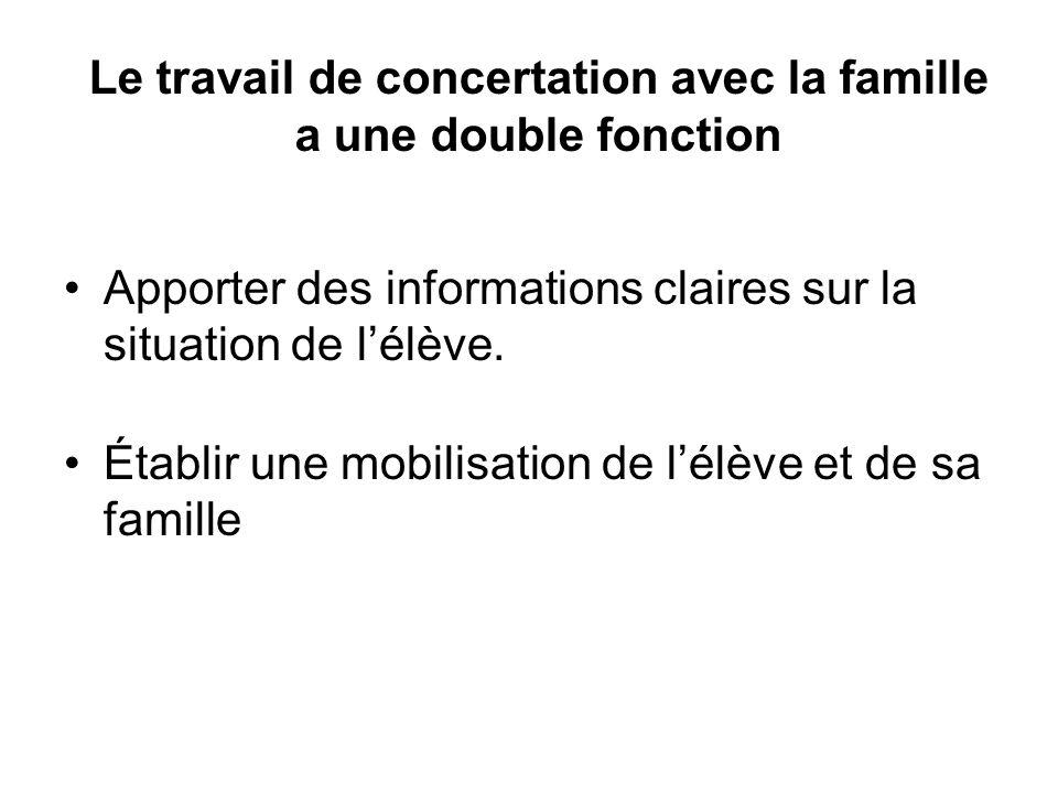 Le travail de concertation avec la famille a une double fonction Apporter des informations claires sur la situation de l'élève. Établir une mobilisati