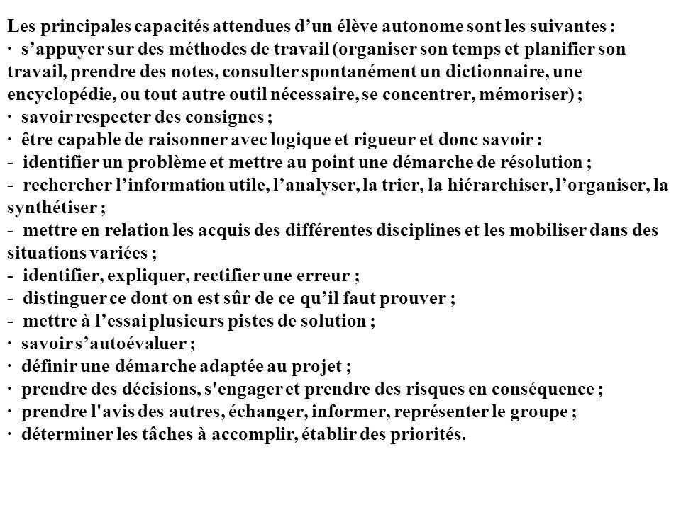 Les principales capacités attendues d'un élève autonome sont les suivantes : · s'appuyer sur des méthodes de travail (organiser son temps et planifier