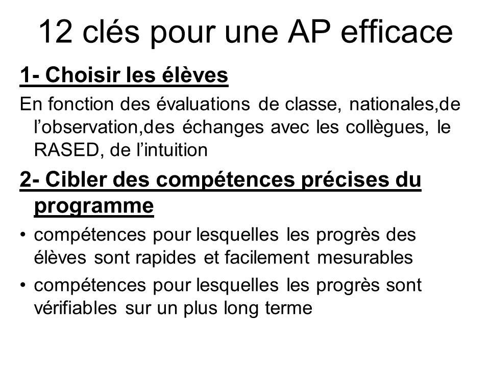 12 clés pour une AP efficace 1- Choisir les élèves En fonction des évaluations de classe, nationales,de l'observation,des échanges avec les collègues,