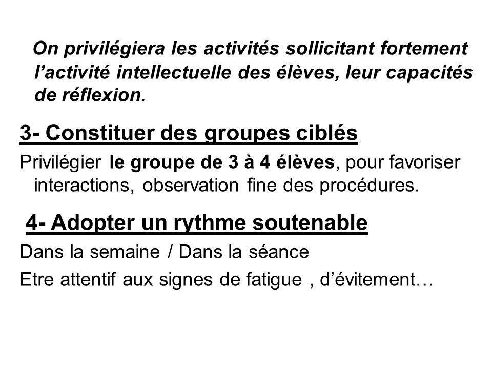 On privilégiera les activités sollicitant fortement l'activité intellectuelle des élèves, leur capacités de réflexion. 3- Constituer des groupes ciblé