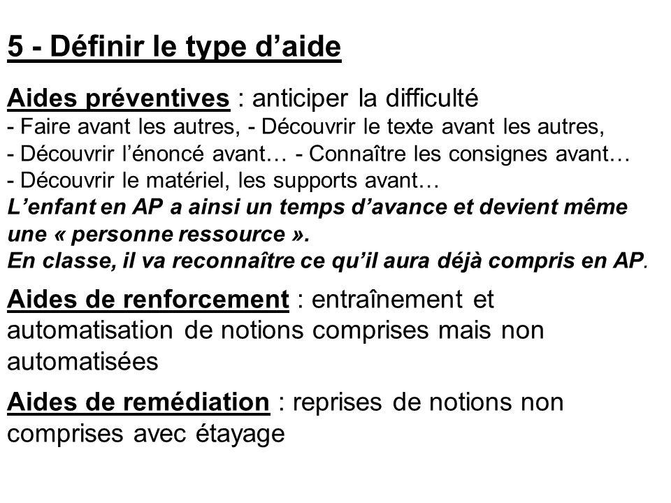 5 - Définir le type d'aide Aides préventives : anticiper la difficulté - Faire avant les autres, - Découvrir le texte avant les autres, - Découvrir l'