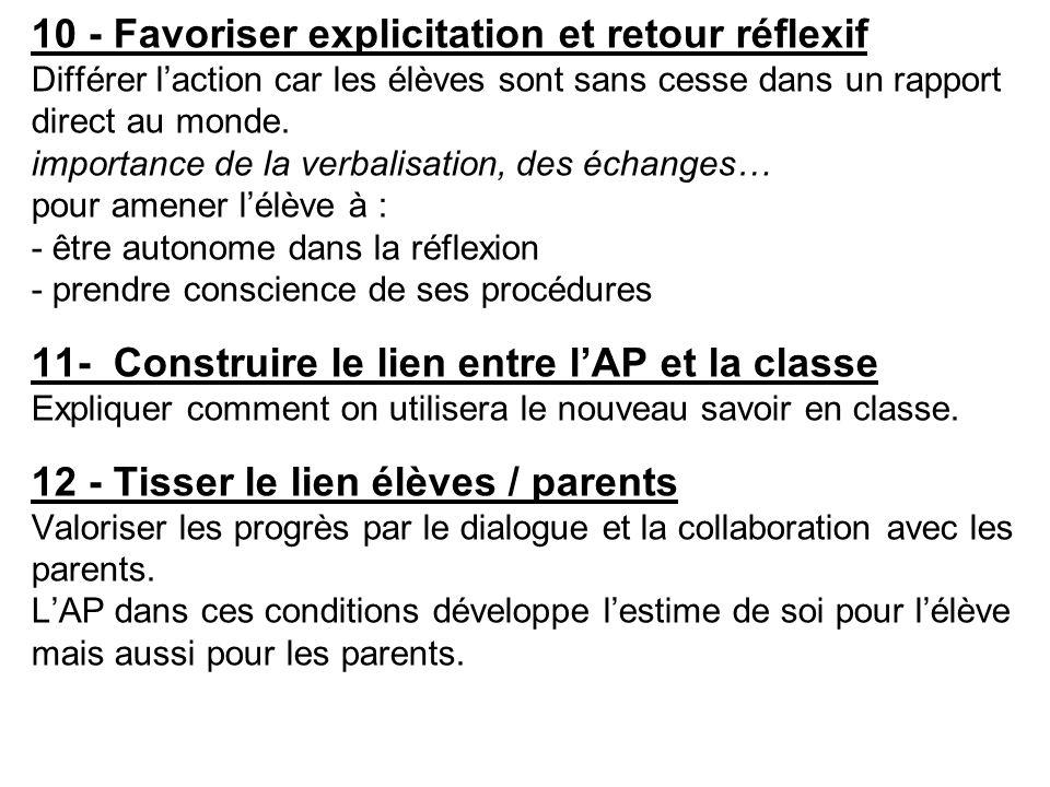 10 - Favoriser explicitation et retour réflexif Différer l'action car les élèves sont sans cesse dans un rapport direct au monde. importance de la ver