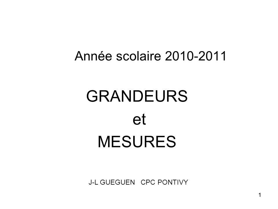 11 Année scolaire 2010-2011 GRANDEURS et MESURES J-L GUEGUEN CPC PONTIVY