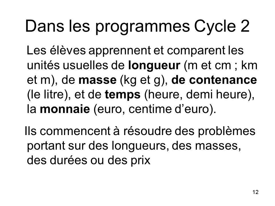 12 Dans les programmes Cycle 2 Les élèves apprennent et comparent les unités usuelles de longueur (m et cm ; km et m), de masse (kg et g), de contenance (le litre), et de temps (heure, demi heure), la monnaie (euro, centime d'euro).