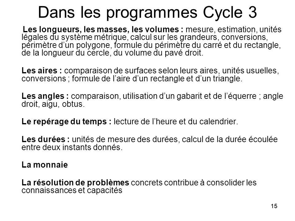 15 Dans les programmes Cycle 3 Les longueurs, les masses, les volumes : mesure, estimation, unités légales du système métrique, calcul sur les grandeurs, conversions, périmètre d'un polygone, formule du périmètre du carré et du rectangle, de la longueur du cercle, du volume du pavé droit.