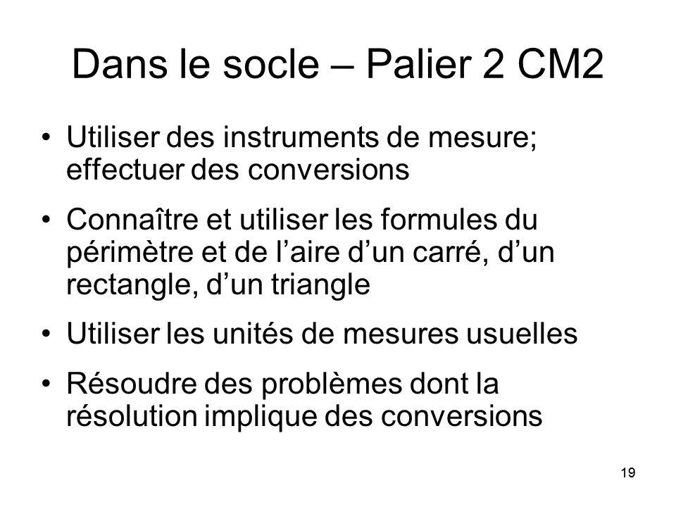 19 Dans le socle – Palier 2 CM2 Utiliser des instruments de mesure; effectuer des conversions Connaître et utiliser les formules du périmètre et de l'