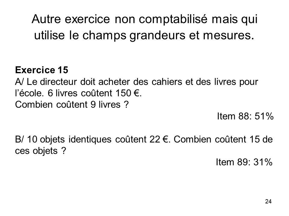 24 Autre exercice non comptabilisé mais qui utilise le champs grandeurs et mesures. Exercice 15 A/ Le directeur doit acheter des cahiers et des livres