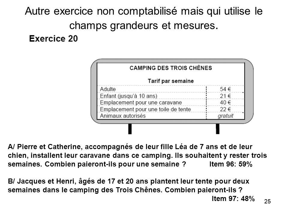 25 Autre exercice non comptabilisé mais qui utilise le champs grandeurs et mesures. A/ Pierre et Catherine, accompagnés de leur fille Léa de 7 ans et