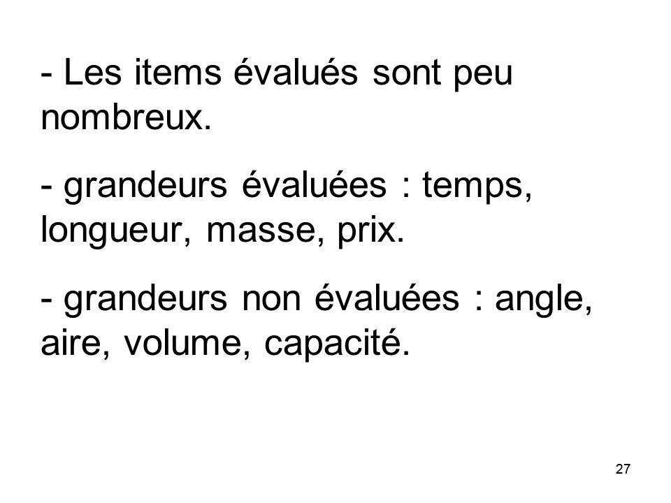 27 - Les items évalués sont peu nombreux. - grandeurs évaluées : temps, longueur, masse, prix. - grandeurs non évaluées : angle, aire, volume, capacit