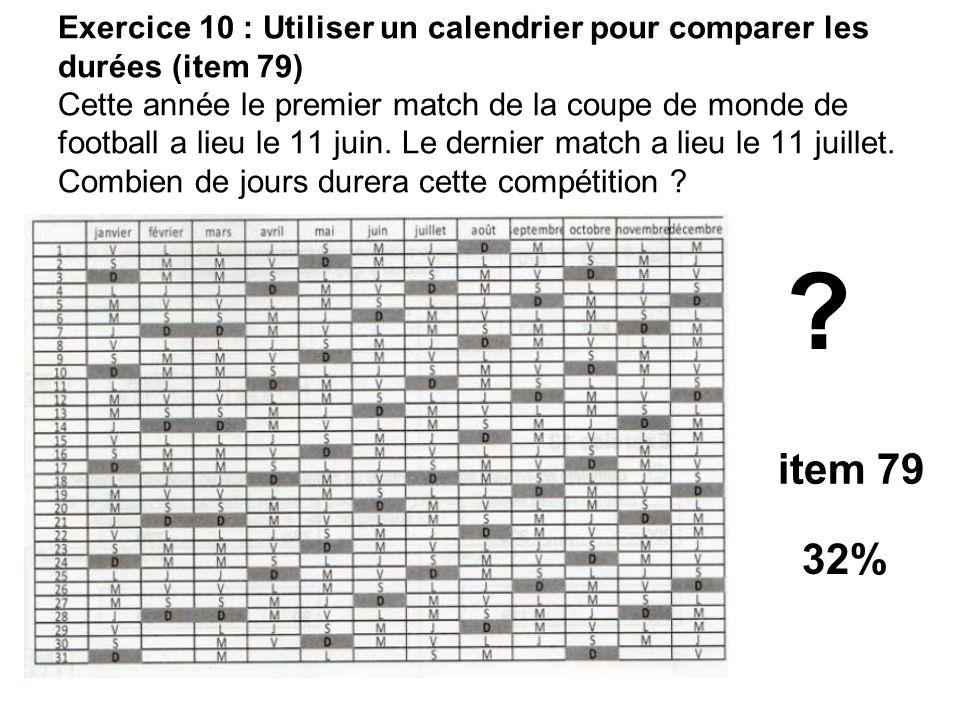Exercice 10 : Utiliser un calendrier pour comparer les durées (item 79) Cette année le premier match de la coupe de monde de football a lieu le 11 jui
