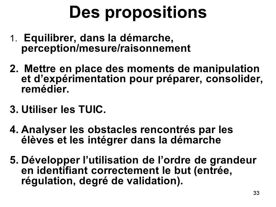 33 Des propositions 1. Equilibrer, dans la démarche, perception/mesure/raisonnement 2. Mettre en place des moments de manipulation et d'expérimentatio