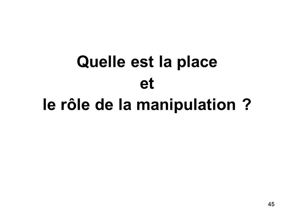 45 Quelle est la place et le rôle de la manipulation ?