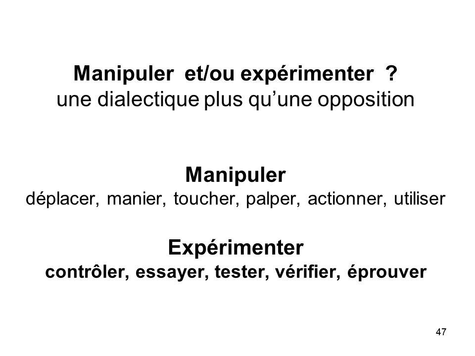 47 Manipuler et/ou expérimenter ? une dialectique plus qu'une opposition Manipuler déplacer, manier, toucher, palper, actionner, utiliser Expérimenter