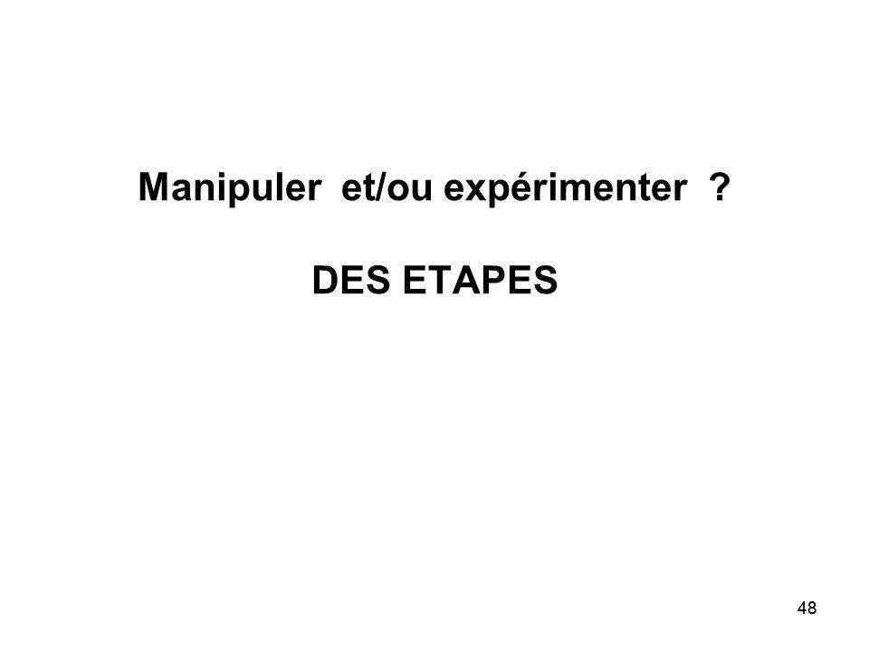 48 Manipuler et/ou expérimenter ? DES ETAPES