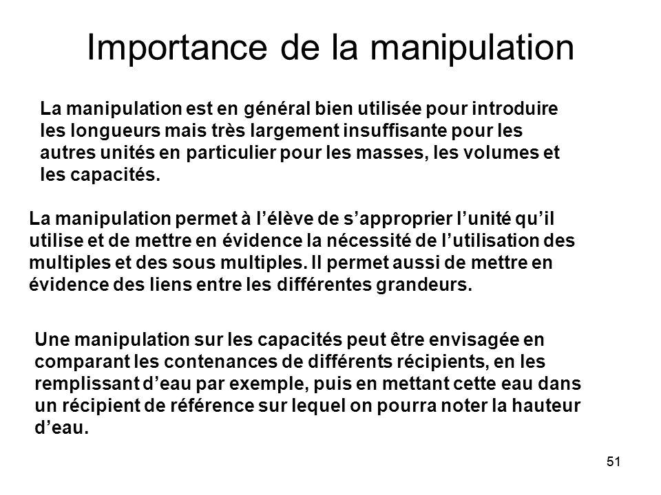 51 Importance de la manipulation La manipulation est en général bien utilisée pour introduire les longueurs mais très largement insuffisante pour les autres unités en particulier pour les masses, les volumes et les capacités.